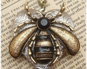 Steampunk Bee Locket Necklace Vintage Style Original Design