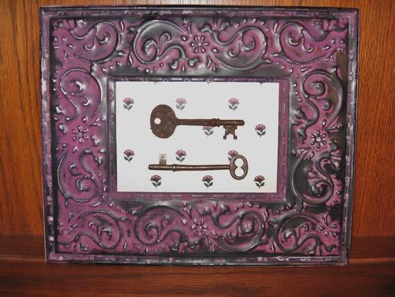 Metal Framed Antique Skeleton Keys Tin Ceiling Tile Upcycled