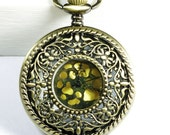 Flower hollowed golden dial Pocket Watch necklace (additional free shipping)