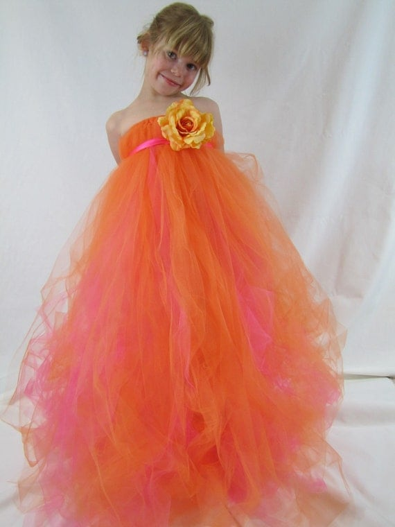Girls Tulle Tutu Flower Girl Dress