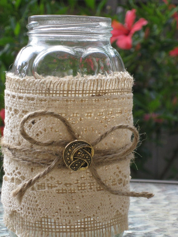 Mason Jar Wedding or Dinner Centerpieces or Candle Holders
