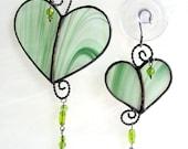My Wild Irish Heart 15 emerald green white stained glass wire work beads set of 2