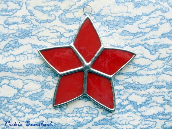 Star ornament bright RED stained glass 72M