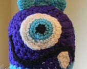 """SALE Purple and turquoise """" Little Monster """" Baby Beanie - Ready to Ship"""