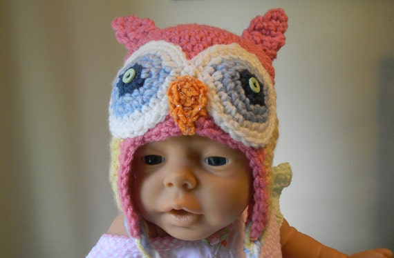Baby Owl Hat with Pink, Yellow, Blue and Orange Accents Ready to Ship