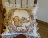 Squirrel, Acorn, Fall Leaves, Cross Stitch Pillow by Hand