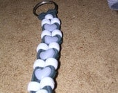 Grey and Blue Beaded Leather Keychain