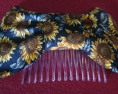 Sunflower necktie upcycled into a gorgeous large bowtie hair comb