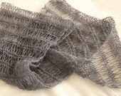 Tibetan yak wool knit scarf, grey, eco friendly, natural, neutral, warm