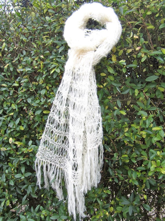 Tibetan yak wool knit scarf, unique, authentic, light, delicate, eco friendly, elegant, natural white, warm and cozy