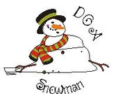 Adorable Melting Snowman Clipart wearing Hat and Scarf - Cupcake Topper