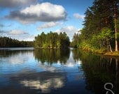 Square photo - Typical Finland, lake and forest, high quality photo, print you can frame for your wall