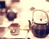 Shabby chic, vintage style photo, Asian tea serving, teapot and tea cup, decoration art photo print