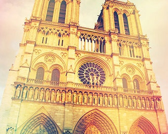 Paris decor, shabby chic Paris wall art, vintage style photo, Notre Dame Cathedral in Paris, decoration, wall art, France photography