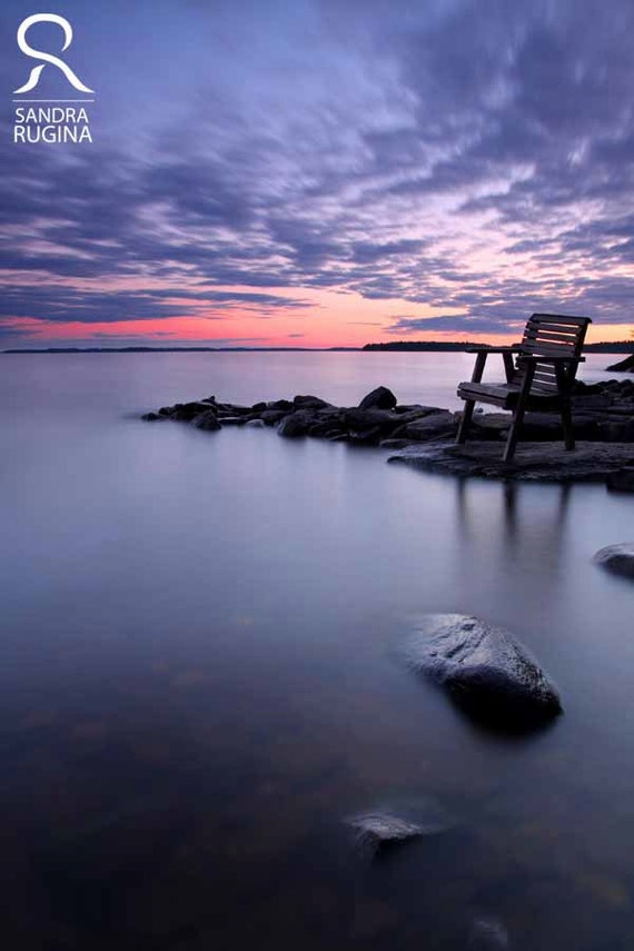 Large photo print of a beautiful sunset near a lake in Finland, print to frame for your wall