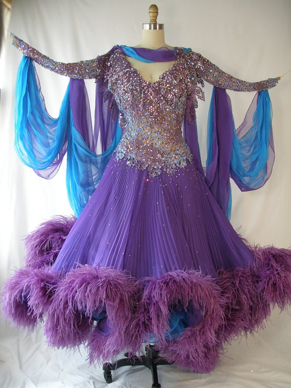 1980s Ballroom Dancing Dress Purple And Blue Rhinestones