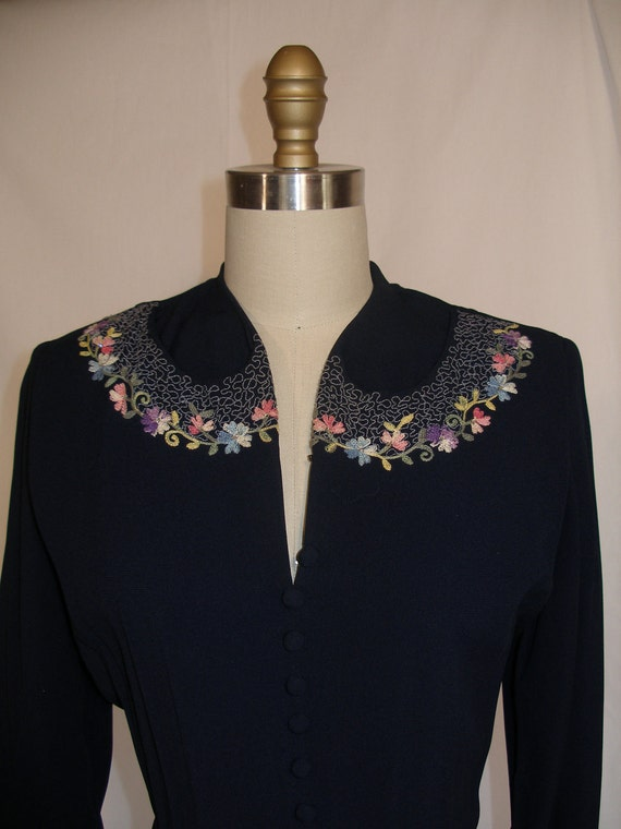 1940s 1950s  Navy Embroidered Dress