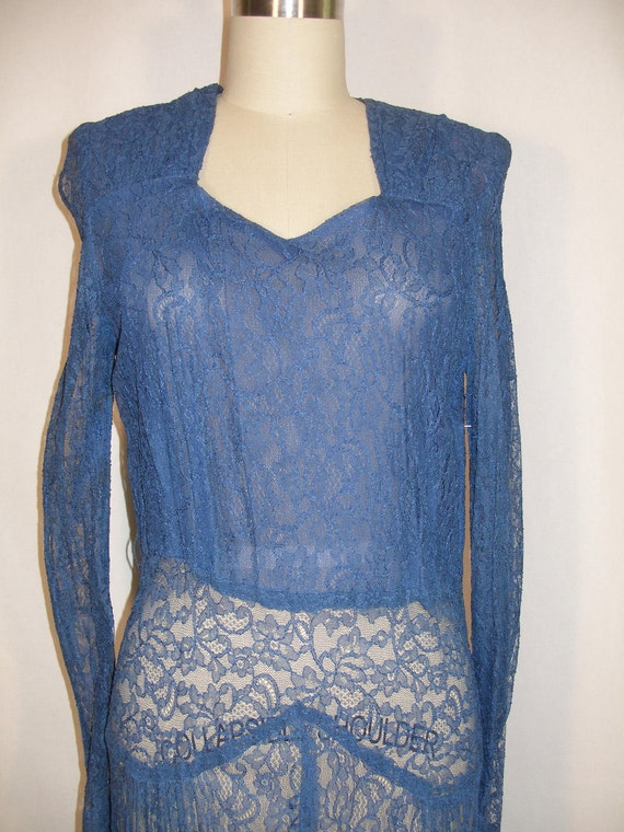 1940s Blue Lace Long Sleeve Evening Dress Over Layer