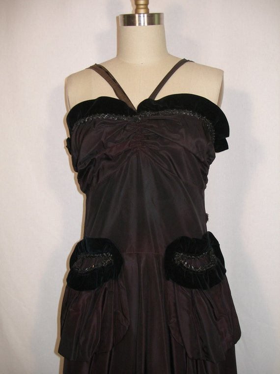 SALE 1930s 1940s Black Halter Top Evening Gown Decorative Hip Pockets
