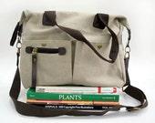 Messenger bag / shoulder bag / diaper bag / cross body bag, canvas bag with zipper pocket - Nature