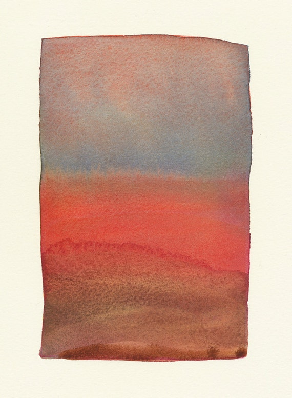 small original watercolor red lands color form