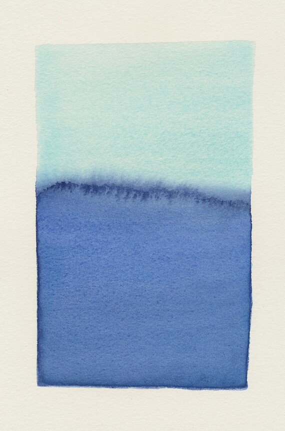 blue horizon small original watercolor