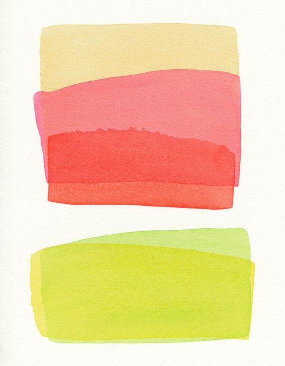 five color stacked small original watercolor