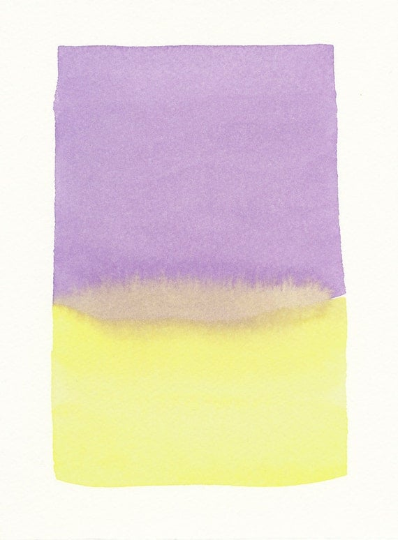 purple and yellow forms original small watercolor painting