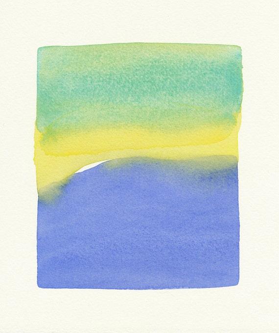 blue water form original small watercolor