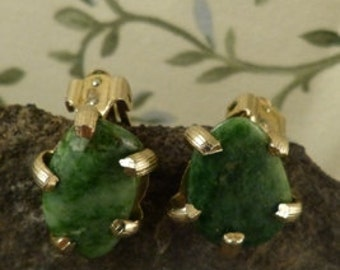 Vintage 1960's Coro Earrings, Green Stones