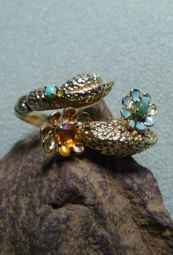 RESERVED*****Vintage 1980's Abstract 14K Gold, Fire Opal & Jade Ring