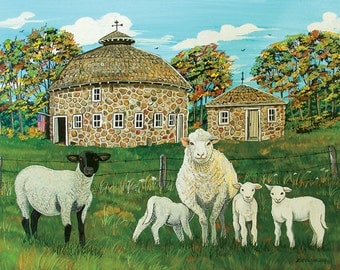Sheep and Lambs Painting