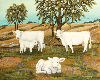 Charolais Cow and Calves Original Painting