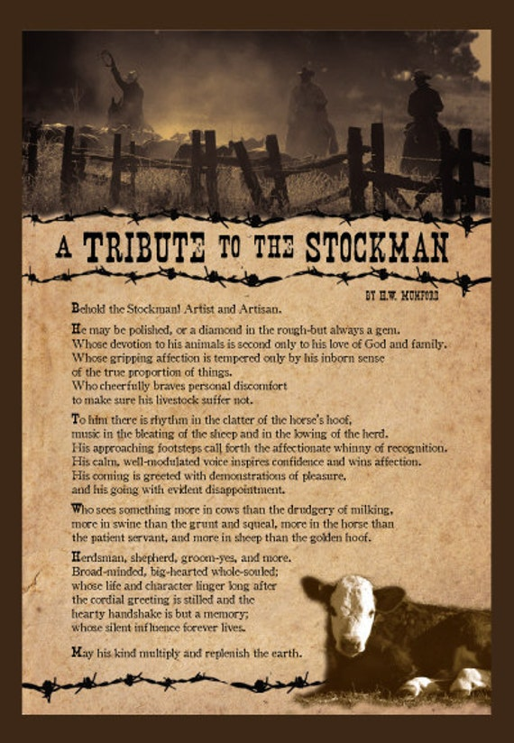 A Tribute to the Stockman Poem 12 x 18 poster print