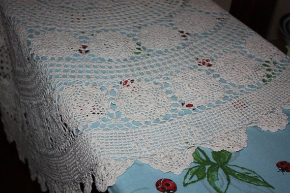 Vintage handmade crochet table cloth