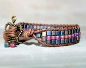 Beaded Leather Wrap Bracelet Boho Pink Purple Fuscia Urban Queen Glass beads Bohemian Chic