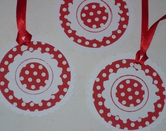 Red and white gift tags, circle, white with white on red polka dots, red satin ribbon Set of 20