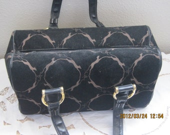 Vintage Handbag Purse Tagged LEWIS Black Tan Taupe Collectible 1950's 1960's