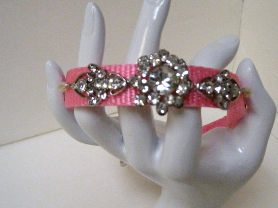 OCTOBER SALE-Code OCT2012-Pretty Princess-Dog Collar Designed With Vintage Repurposed Jewelry