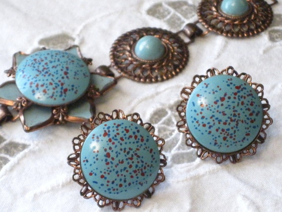 Turquoise and Copper  Colored Vintage Bracelet and Earring Set- Southwestern Flare