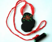 Painted Flower Black and Red Necklace