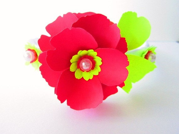 BOGO Sale!- Paper Flower Heandband- Flower Girl Custom Hair band with Paper flowers