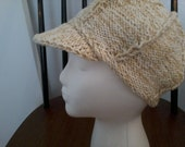knitted natural cotton NEWSBOY/BASEBALL CAP     -- Free 3 Day Shipping