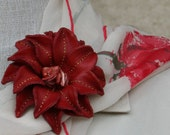 "Red Leather Flower Scarf ""Pin"""