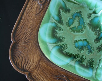 SALE  Vintage Green and blue Treasure Craft Serving Platter