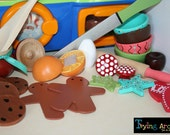 Over 20 Piece Hand Painted Wooden Toy Kitchen Play Set- Cut an Egg or an Orange With Butter Knife- FREE HOMEMADE PLAYDOUGH Included