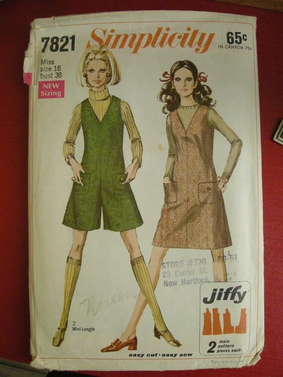 Vintage 1968 Simplicity Pattern 7821 Jumper SIZE 16