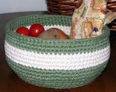 Custom Order Large Handmade crocheted Kitchen Fruit Bowl Bread Basket or Yarn Basket