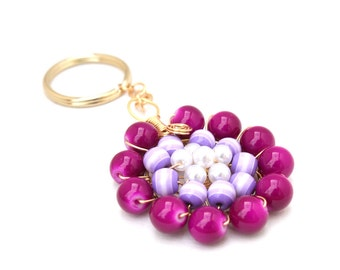 Purple beaded flower keychain, gold toned wire wrapped, beaeded accessory