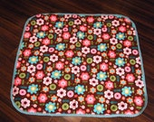 Baby Girl Blanket with Matching Burp Cloth and Crocheted Edging